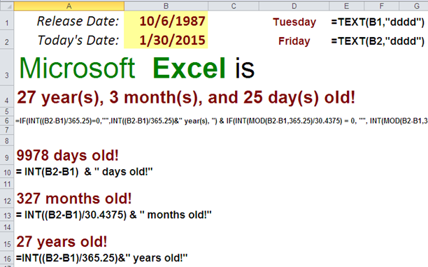 Calculate Your Age in Excel, without DATEDIF function