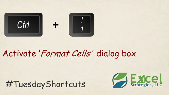CTRL + 1 -Format your Excel cells