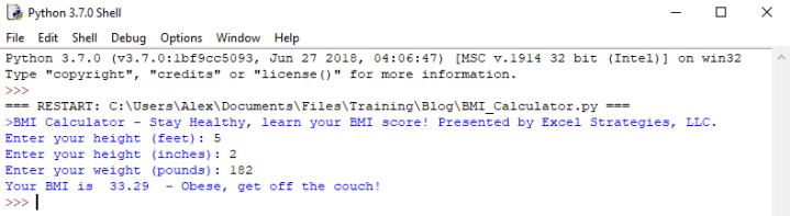 Coding a BMI Calculator in Python – Excel Strategies, LLC