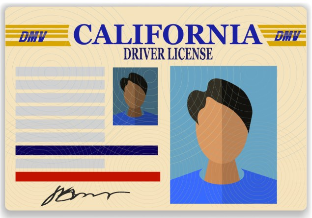 Driver License Plastic Card Isolated on White Background