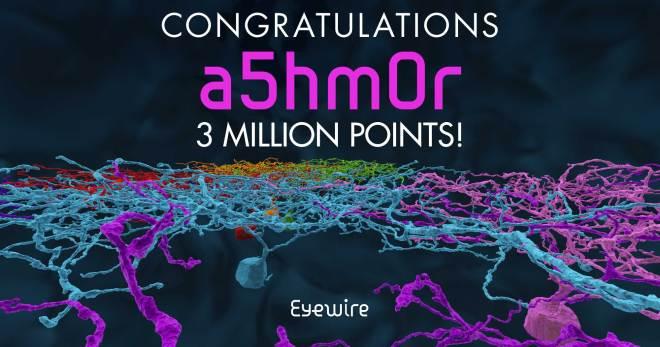 a5hm0r 3 million points congrats eyewire