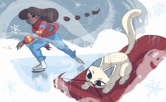 sled, skate, winter sports, cat, fun, science