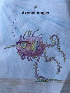 axonal angler, neural reef, neuromonster, coloring contest, coloring pages, myelin sheathfish, spike, glia monster, citizen science, citsci, sciart, adult coloring