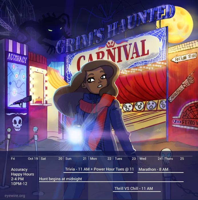 Grim's Haunted Carnival, calendar, Rika, Eyewire, citizen science
