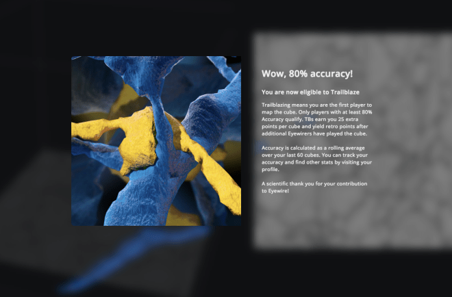 80% accuracy, accuracy eyewire, eyewire, citizen science, synapse, neurons, citizen science, cit sci, citsci, citizen science ui, citizen science user interface, eyewire notifications, notifications, gamification, citizen science game