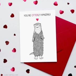 valentine's card, funny, humor, pun, lol, dad jokes, punny, geek, geeky card, otter, otterly