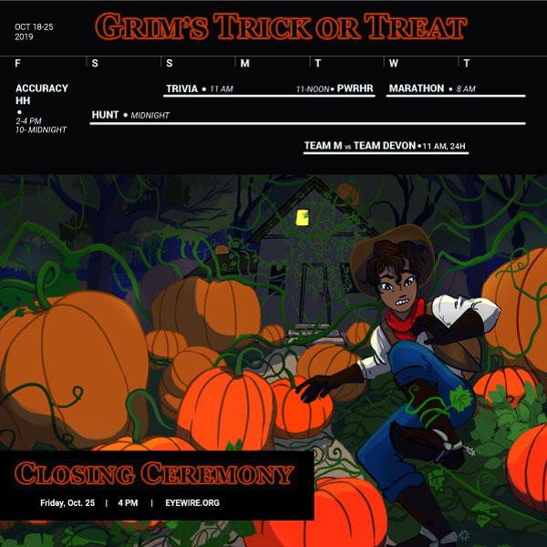 Eyewire, citizen science, Daniela Gamba, Syke, Halloween, Grim's Trick or Treat, pumpkin patch