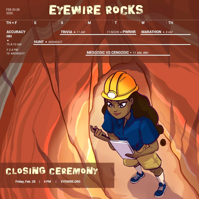 Eyewire, citizen science, Eyewire Rocks, geology, calendar, Rika, Daniela Gamba, challenge week