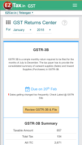 EZTax.in GST Accounting - Returns Center on Mobile