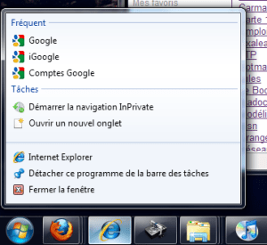Right-click on IE8 minimized window
