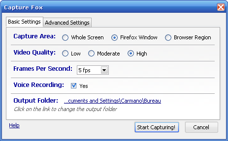 Tab 1 - CaptureFox Basic Settings