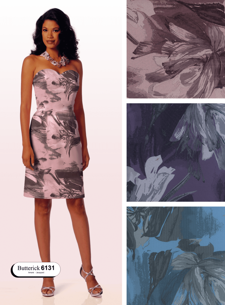 Large floral jacquard fabric used in Butterick 6131 dress pattern with fabric swatches in colours rose, purple and blue
