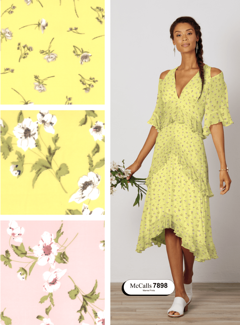 Flowy polyester fabric floral prints used in McCalls 7898 dress pattern