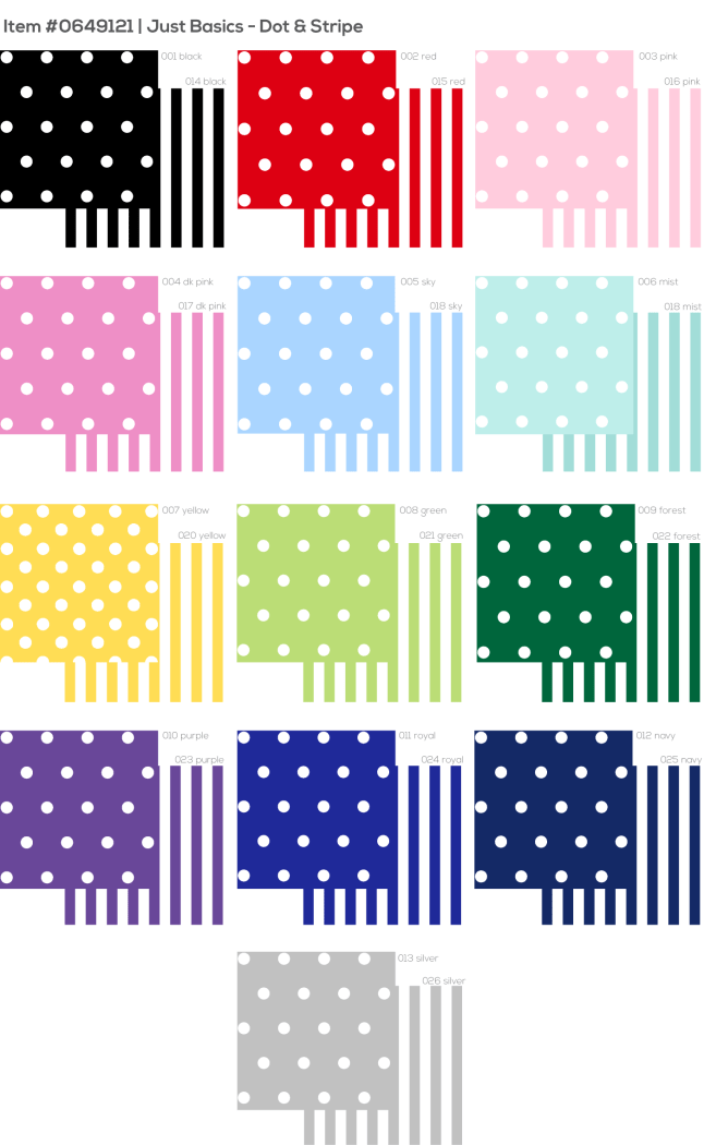 .5 cm dot and stripe colour card