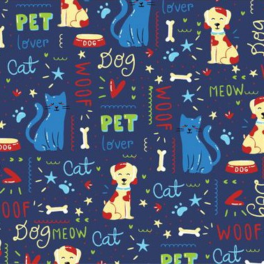 cotton print cats & dogs with various words bones paws hearts