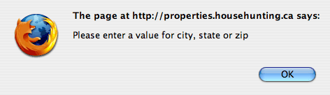 Househunting.ca error message