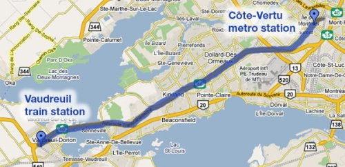 Route for new AMT bus from Vaudreuil to Côte-Vertu