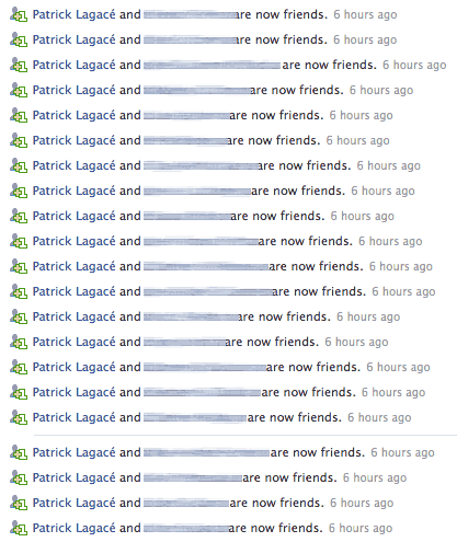 Patrick Lagacé's Facebook friends (names blurred to protect the innocent)