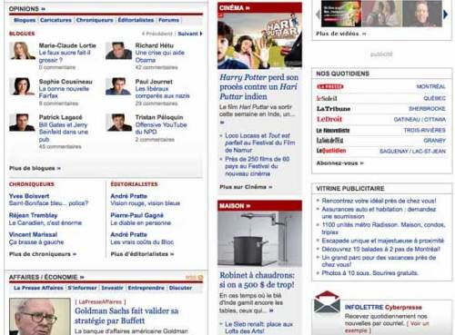 Middle part of Cyberpresse homepage