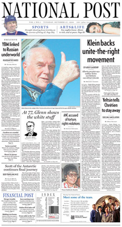 National Post Page 1: October 27, 1998