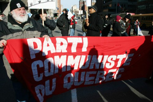 The Communist Party of Quebec (with cliché old-guy-with-beard) apparently supports the coalition, not that it matters.