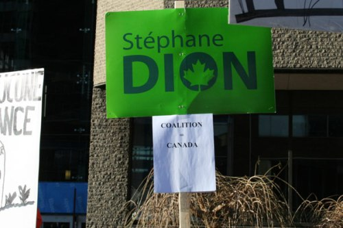 A lone sign carried the name of would-be prime minister Stéphane Dion