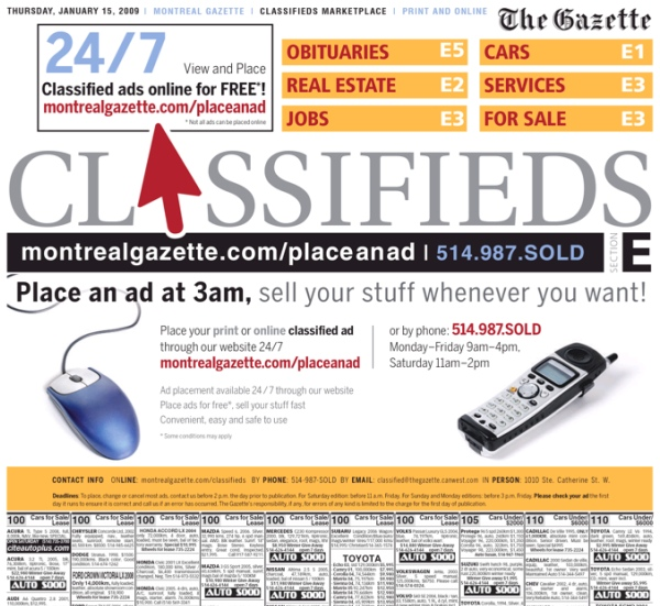 The Gazette's new classified layout