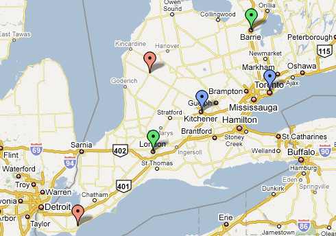 CTV-owned stations in southern Ontario: CTV (blue), A (green) and the two stations being shut down (red)