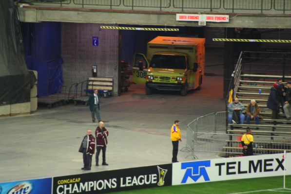 An ambulance stands ready during the game
