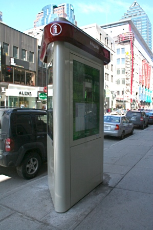 Tourist guide pillar at Ste. Catherine and Peel