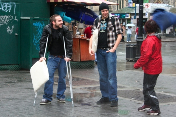 Yes, this guy actually fought a pillow fight on crutches. He was shown no mercy.