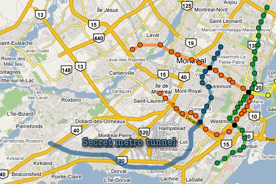 Path of secret metro tunnel, according to declassified STM archives