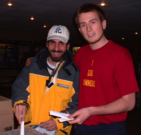 Tom Keefer (right) with Laith Marouf in 2001