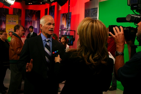 Jack Layton and reporter Annie DeMelt
