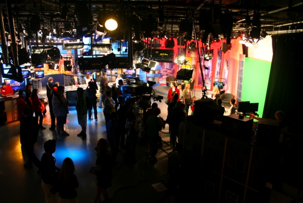 CFCF's studio, from left: sports, news, interviews and weather