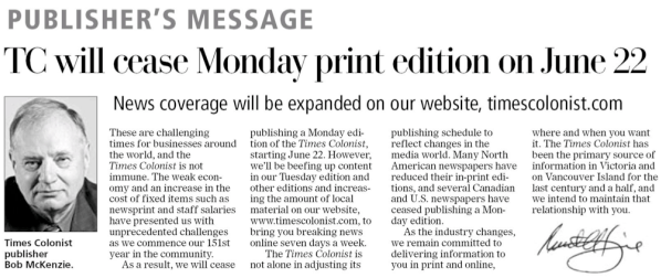 Message from the publisher in Victoria Times-Colonist, May 9, Page A2