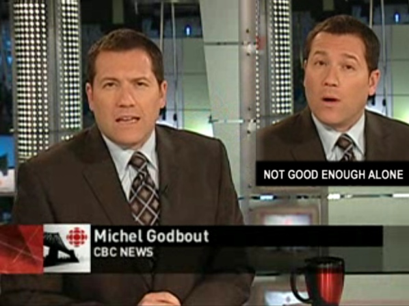 Michel Godbout has been hosting CBC News Montreal at Six alone since 2006. (Fagstein photo illustration)
