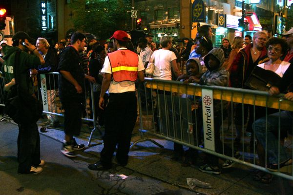 A barrier at Ste. Catherine and Bleury allows people out but not in.