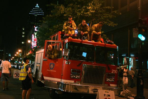 Even firefighters had to enjoy the concert from outside the barrier.