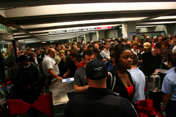 Thousands cram their way into the Place des Arts metro station after a free Stevie Wonder concert on June 30.