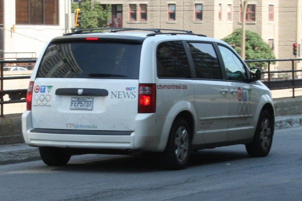 CTV News van stalking nearby - didn't show to the pillow fight