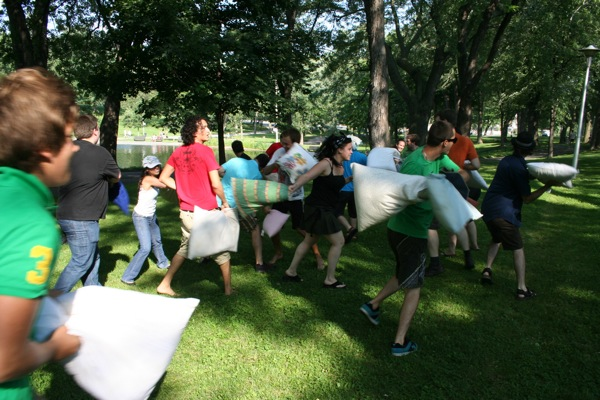 Pillow fight at Parc Lafontaine, Aug. 15