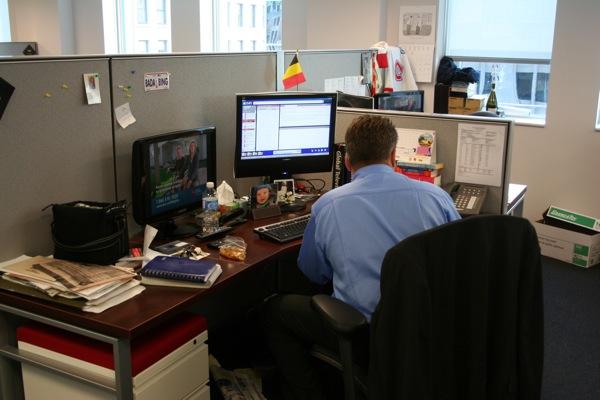 A reporter's desk (in this case, Domenic Fazioli)