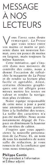 From La Presse, Aug. 11, Page A4