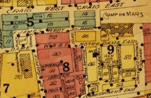 A map shows St. James St. E. where the Palais de justice is now.
