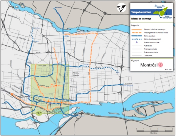 Union Montreal's Tram plan: Orange lines denote planned routes