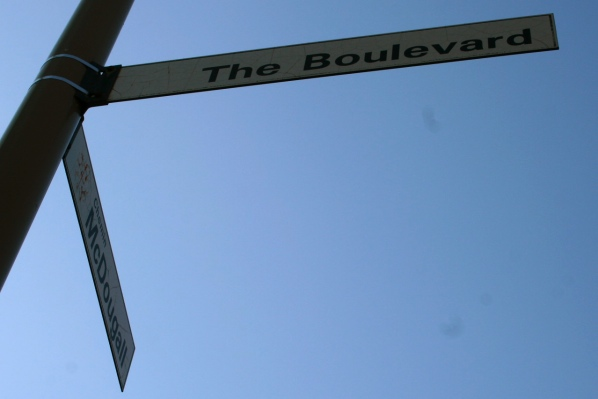 "Another sign at the same intersection, only now it's ""The Boulevard"""