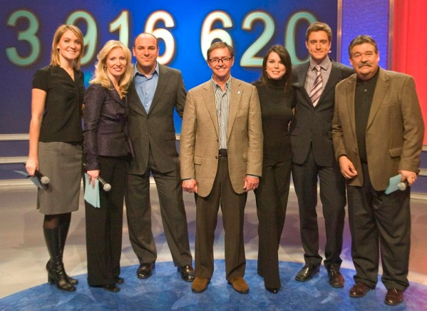 The Telethon of Stars (left to right): Tania Krywiak, Lori Graham, Jed Kahane, Michel Lanteigne (foundation chair), Claudia Marques, Paul Karwatsky, Randy Tieman