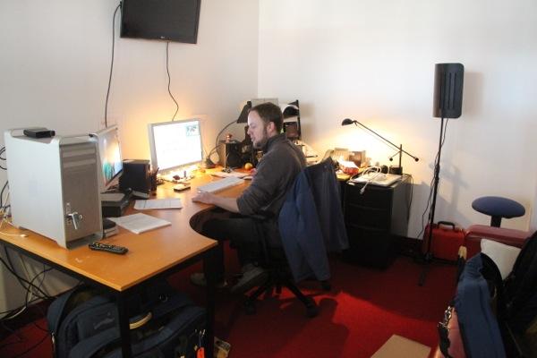 Editor Ian Graham in the makeshift edit suite