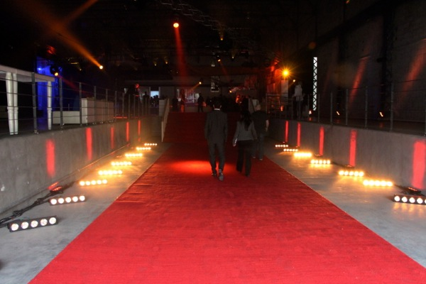 Red carpet entrance to a press conference. One person was there just to say hi to people and tell them to watch their step.